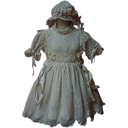 Exquisite Antique Classic white work Muslin Dress Bonnet Petticoat for french bebe Jumeau doll