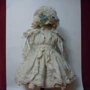 Gorgeous Taffeta Dress Bonnet Capelet for antique french Bebe doll