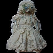 Gorgeous Taffeta Dress Bonnet Capelet for antique french Bebe doll