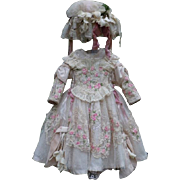 Exquisite Couturier Costume 3 pcs for antique french Bebe Jumeau Steiner Bru doll