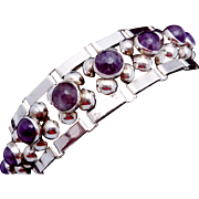 Vintage 1930s Taxco Mexican Mexico Sterling Silver Amethyst Chunky Bracelet