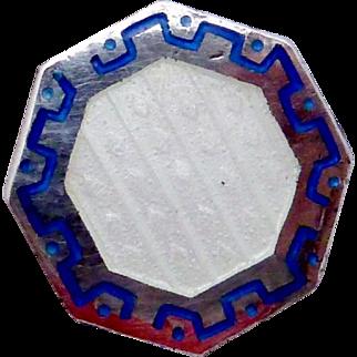 Antique Victorian Sterling Silver Enamel Blue White Octagonal Button Pair