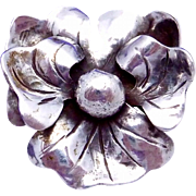 Vintage Hand Wrought Sterling Silver Pansy Flower Pin