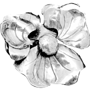 Vintage Hand Wrought Sterling Silver Pansy Flower Pin Gage Style
