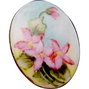Antique Victorian Set of 3 Hand Tole Painted China Porcelain Studs Buttons