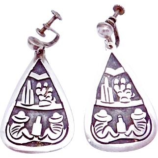 Vintage Taxco Mexico Mexican Sterling Silver Large Iconic Dangle Earrings