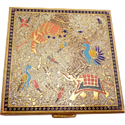 Vintage 1940s Volupte Brass Enamel Persian Indian Lion Elephant Bird Compact