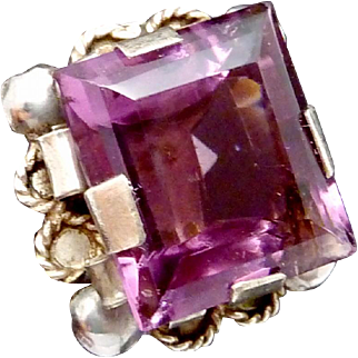 Vintage 1930s Taxco Mexico Mexican Silver Amethyst Glass Ornate Ring
