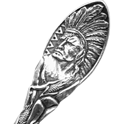 Vintage Howard Sterling Silver Souvenir Spoon Indian Devil's Lake North Dakota