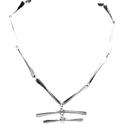 Vintage Modernist Silver Plated Bone Necklace