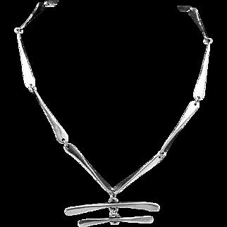Vintage Modernist Silver Plated Bone Necklace