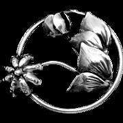 Vintage Sterling Silver Flower Floral Pin Brooch Round Hallmarked