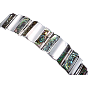 Vintage A Munoz Taxco Mexican Sterling Silver Shell Modernist Bracelet