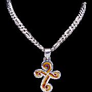 Vintage Jeronimo Fuentes Taxco Mexican Sterling Silver Enamel Cross Pendant 21814