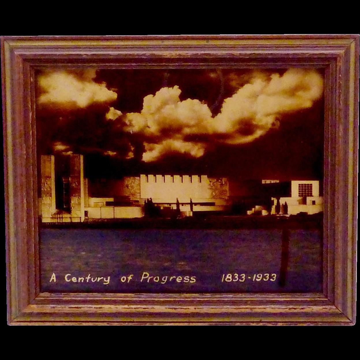 Vintage 1933 Chicago Worlds Fair Orotone Electrical Building Framed Art