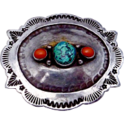Vintage 1973 Timothy Dixon Coin Silver Turquoise Coral Small Belt Buckle