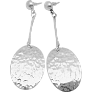 Vintage Taxco Mexican Sterling Silver Royal Cano Modernist Long Earrings