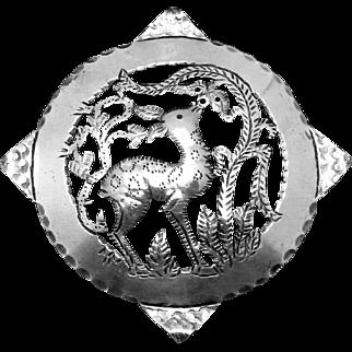 Vintage German Germany 835 Silver Hand Wrought Deer Forest Pin Brooch
