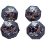 Vintage Siam Sterling Silver Niello Dancer Buttons Set of 4