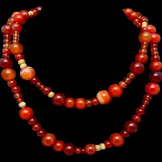 Vintage 14K Gold Clasp Carnelian Agate Quartz Long Bead Necklace
