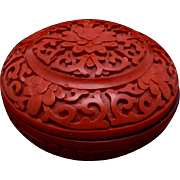 Vintage China Chinese Carved Cinnabar Lacquer Small Trinket Box