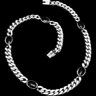 Vintage Narvaez Taxco Mexico Sterling Silver Black Enamel Biker Chain Necklace