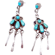 Vintage Bill Lou Laweka Zuni Sterling Silver Turquoise Pierced Dangle Earrings