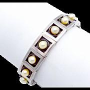 Vintage Antonio Pineda Taxco Mexican 970 Silver Modernist Pearl Bracelet