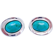 Vintage Modernist Simon Sebbag Sterling Silver Turquoise Clip Earrings