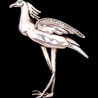 Vintage Art Deco Sterling Silver Rhinestone Large Heron Bird Stork Pin