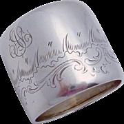 Vintage 800 Silver Germany Engraved Large Napkin Ring