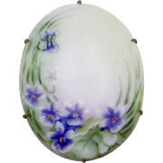 Antique Victorian Gold Filled Hand Tole Painted Violets China Pin Brooch