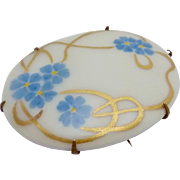 Antique Art Nouveau Gold Filled Hand Tole Painted Floral China Pin Brooch