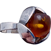 Vintage Modernist Sterling Silver Amber Ring