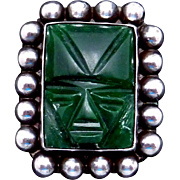Vintage Carmen Beckmann Taxco Mexican Sterling Silver Green Stone Pin