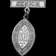Vintage 1920s Girls Friendly Society Sterling Silver Senior Pin