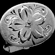 Vintage Sterling Silver Rhinestone Etched Floral Biggish Cufflinks Signed