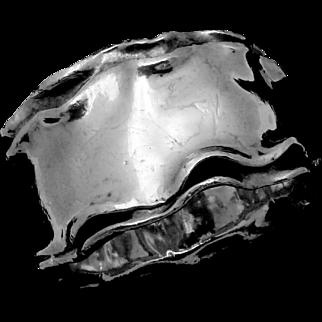 Modernist Bat Ami Israel Sterling Silver Electroform Large Wide Bracelet