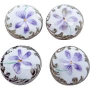Antique Victorian Sterling Silver Enamel Violet Buttons Studs Set of 4