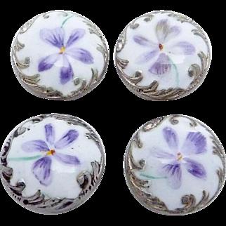 Antique Victorian Sterling Silver Enamel Violet Buttons Studs Set of 4