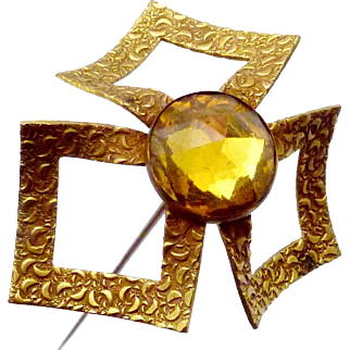 Antique Victorian Brass Amber Glass Quite Large Hatpin Hat Pin