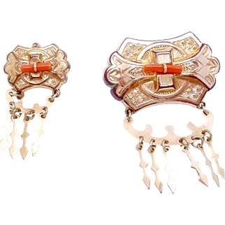 Victorian Gold Filled Coral Pair of Pins