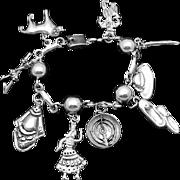 Vintage Far Fan Taxco Mexican Sterling Silver Heavy Chunky Charm Bracelet
