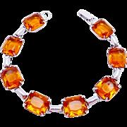 Vintage Sterling Silver Amber Glass Glamour Bracelet