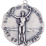 Vintage 1946 Sterling Silver Balfour Large Women's Swimming Medal Pendant