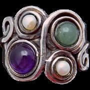Vintage Studio Hand Made Sterling Silver Jade Pearl Amethyst Ring