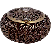Antique Gold Washed Silver Filigree Exceptional Tiny Trinket Box with Lid