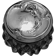 Antique Art Nouveau Sterling Silver Small Vanity Cream Jar Box Nude Woman