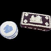 Vintage Wedgwood Black Basalt Reverse Blue on White Trinket Box Pair