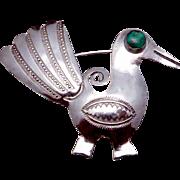 Vintage UITA United Indian Traders Sterling Silver Turquoise Roadrunner Pin